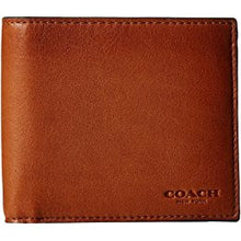COACH Men's Double Billfold Wallet Dark Saddle Calf Leather