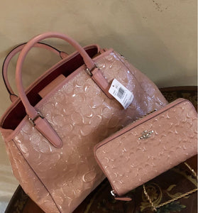 Coach Signature Debossed Leather Margot Carryall Set