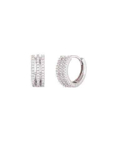 Earrings - Sterling Silver Triple Row Huggie With Swarovski® Crystals