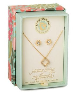 Necklace & Earring - Spartina Crystal & Gold Please Bring Me Flowers Pendant Necklace & Earrings