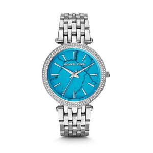 Watch - MICHAEL KORS Darci Silver Pave Bezel Turquoise Dial Women's Watch