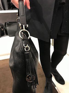 Michael Kors Frances Leather XL Hobo Shoulder Bag Black