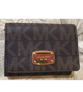 Michael Kors Jet Set Travel Trifold Wallet Signature Brown