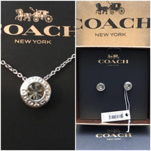 COACH Open  Circle Stone Strand Necklace &  Earring Set Silver