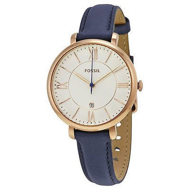 FOSSIL Jacqueline Blue Leather Watch with Earrings Set