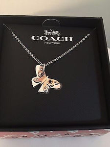 Necklace - COACH Butterfly Charm Short Necklace Silver/Rose Gold