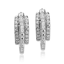 Earrings - Triple Row  Fashion  with Cubic Zirconia