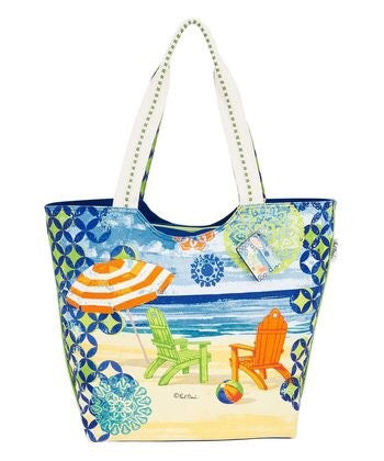 Blue Beachside Large Tote