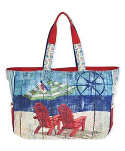 Blue & Red  Adirondack Chair  Canvas  Tote