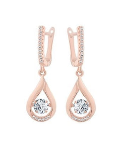 Rose Gold Pave  Earrings with Cubic Zirconia