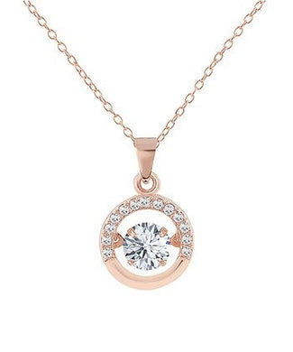 Rose Gold Pave With Cubic Zirconia Pendant Necklace
