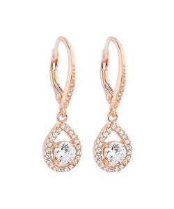 Earrings - Rose Gold Pave  with Cubic Zirconia