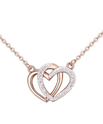 Rose Gold Double Heart Pendant Necklace With Swarovski®  Crystals