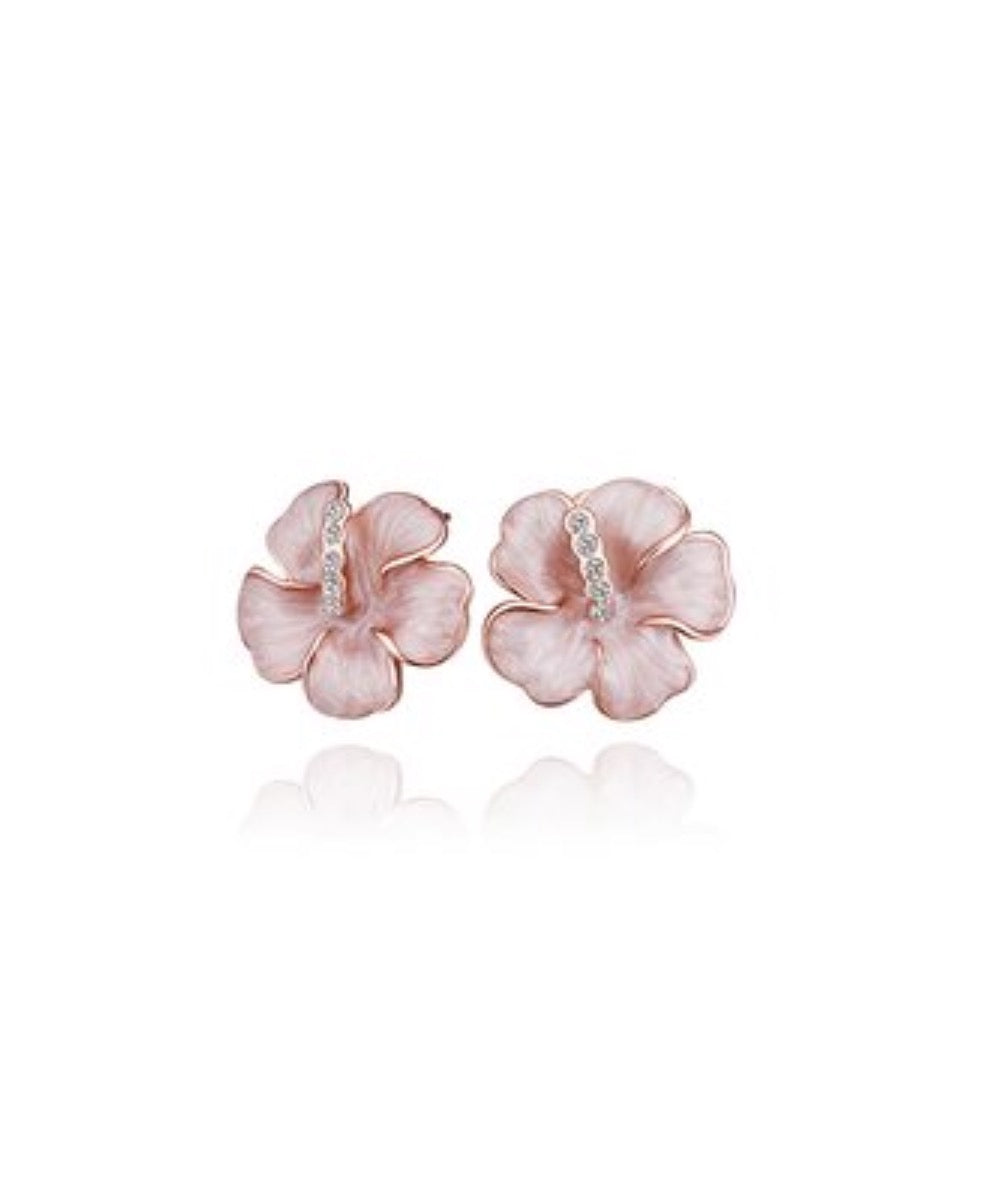 Earrings - Rose Gold Petal Stud With Cubic Zirconia