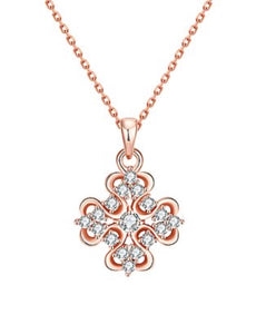 Necklace - Rose Gold Abstract Pendant  with Swarovski Crystal
