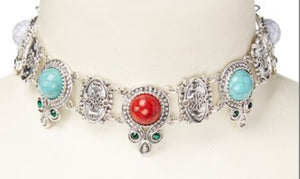 Turquoise & Red Howlite Choker