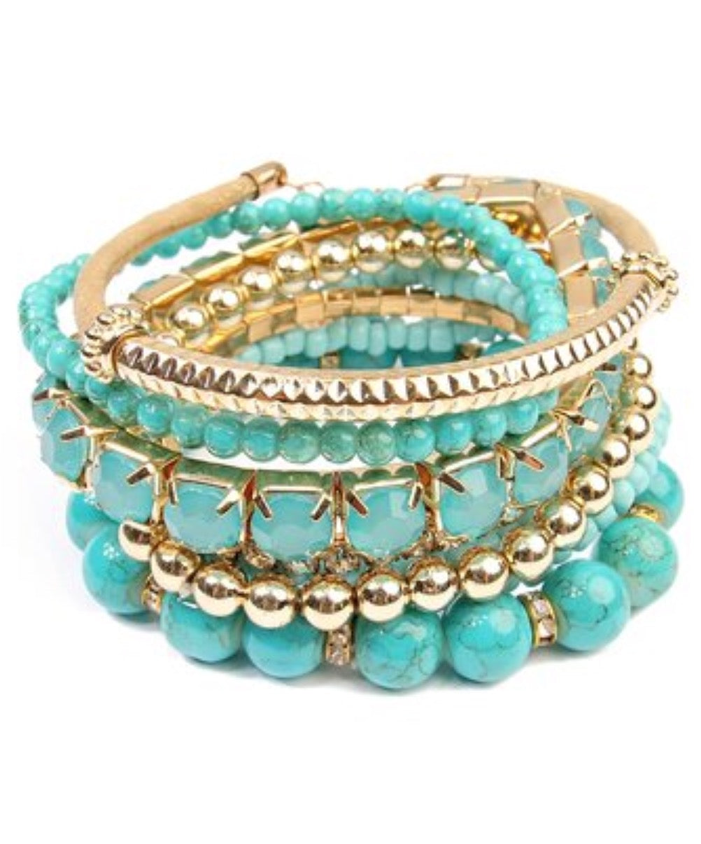Bracelet - Teal & Goldtone Medley Set