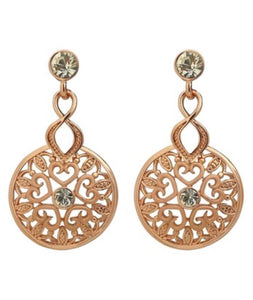 Earrings - Rose Goldtone & Crystal Cutout Drop