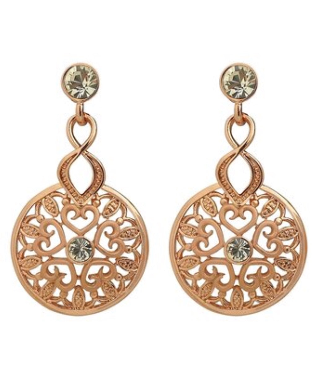 Rose Goldtone & Crystal Cutout Drop Earring