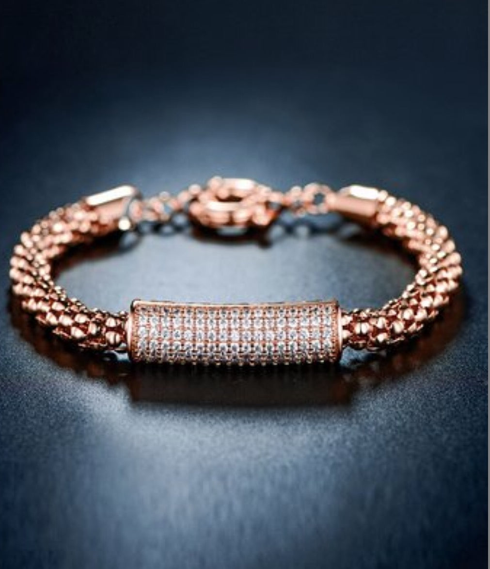 Rose Gold Popcorn Bar Bracelet with Swarovski® Crystal