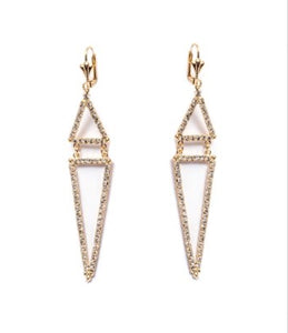 Earrings - Chain Triangle Drop with Swarovski® Crystals