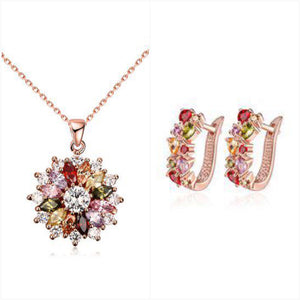 Necklace & Earrings - Jewel Tone Rose Gold Set with Swarovski®  Crystals