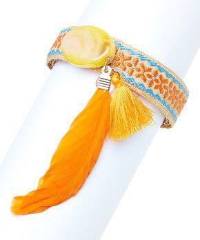 Agate & Tangerine Tapestry Feather Bracelet