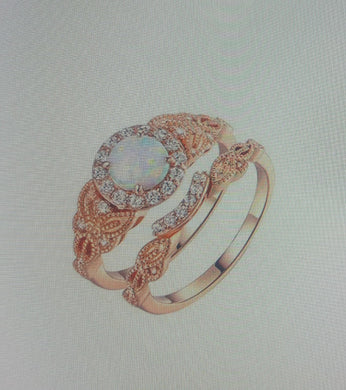 Rose Gold White Opal & Cubic Zirconia Ring Set