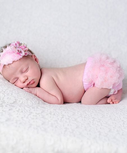 Pink Flower Headband & Ruffle Bloomers