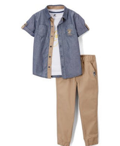 Boys - US Polo Blue Dot Short Sleeve Button-Up Shirt & Pants Set