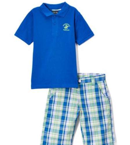 US Polo Power Blue Polo & Plaid Shorts Set