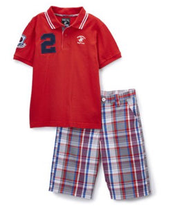 Boys - US Polo Red Polo & Plaid Shorts