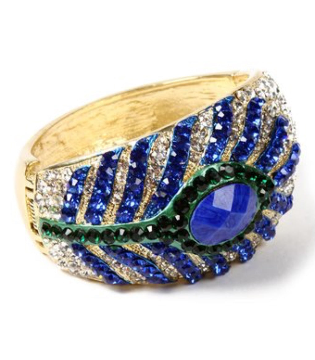 Bangle - Amrita Singh Blue & Gold PeacoFeather