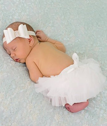 Light Ivory Tutu Bloomers & Biw Accent Satin Headband