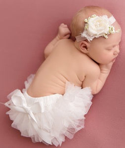 Infant - Light Ivory Flower Headband & Tutu Bloomers