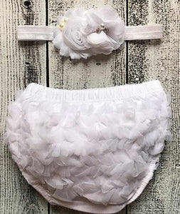 White Ruffle Bloomers & Flower Shabby Chiffon Headband Set