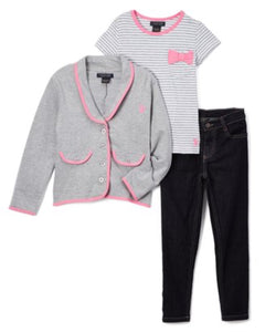 Girls - US Polo Heather Gray & Pink Blazer With Tee & Jeans