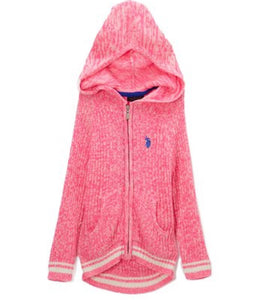 Girls - US Polo Neon Hot Pink Sport  Rib Hooded  Sweater- Girls