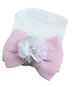 Infant - White & Pink Bow Accent Embellished Beanie- Newborn