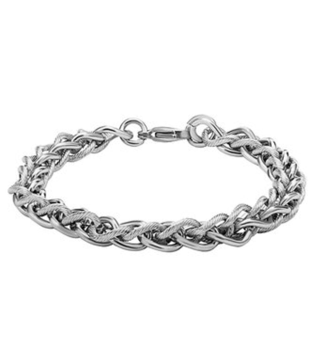 INOX Stainless Steel 7-mm Wheat Chain Bracelet