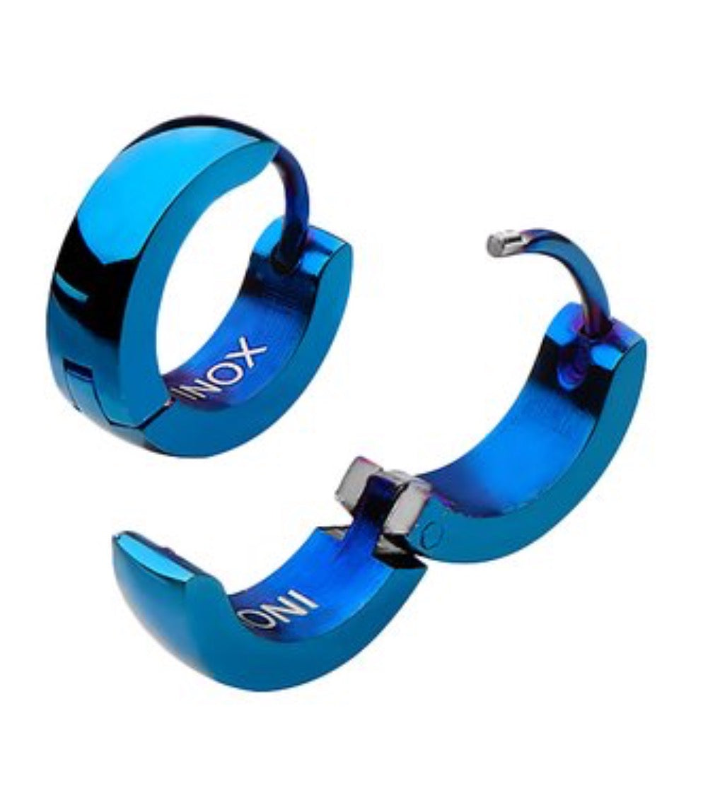 Blue Stainless Steel Huggie Earrings