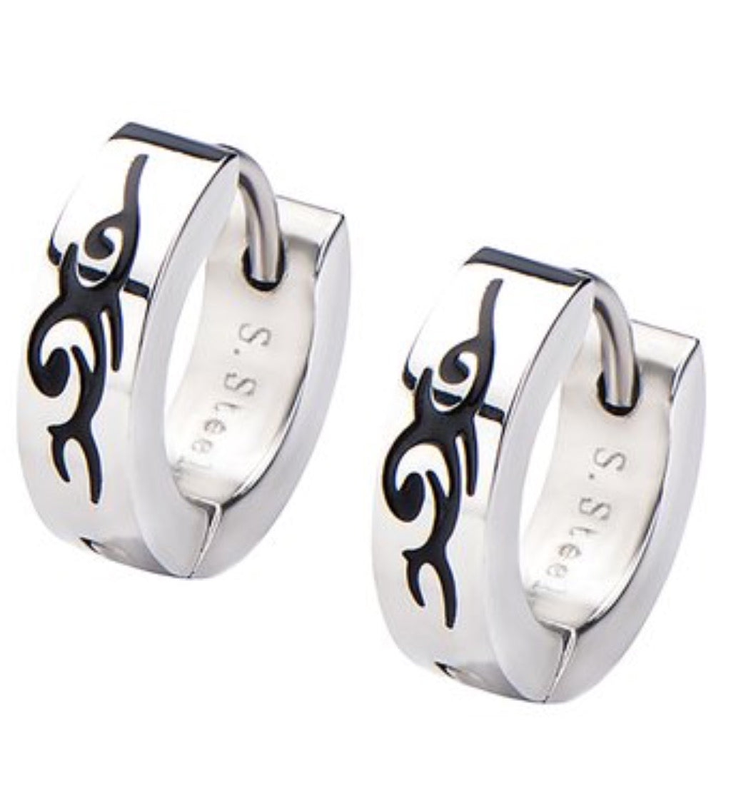 INOX Stainless Steel Abstract Huggie Earrings