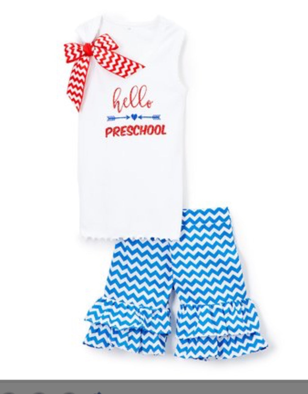 Beary Basics White 'Hello Preschool' Tank & Blue - Toddler Girls
