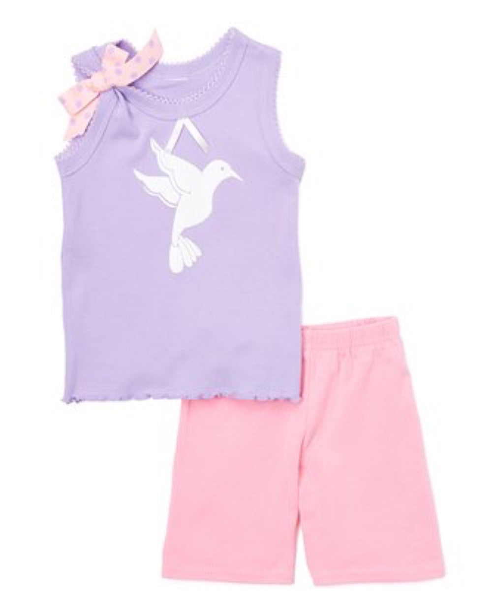 Lavender Hummingbird Rank & Shorts- Toddler Girls