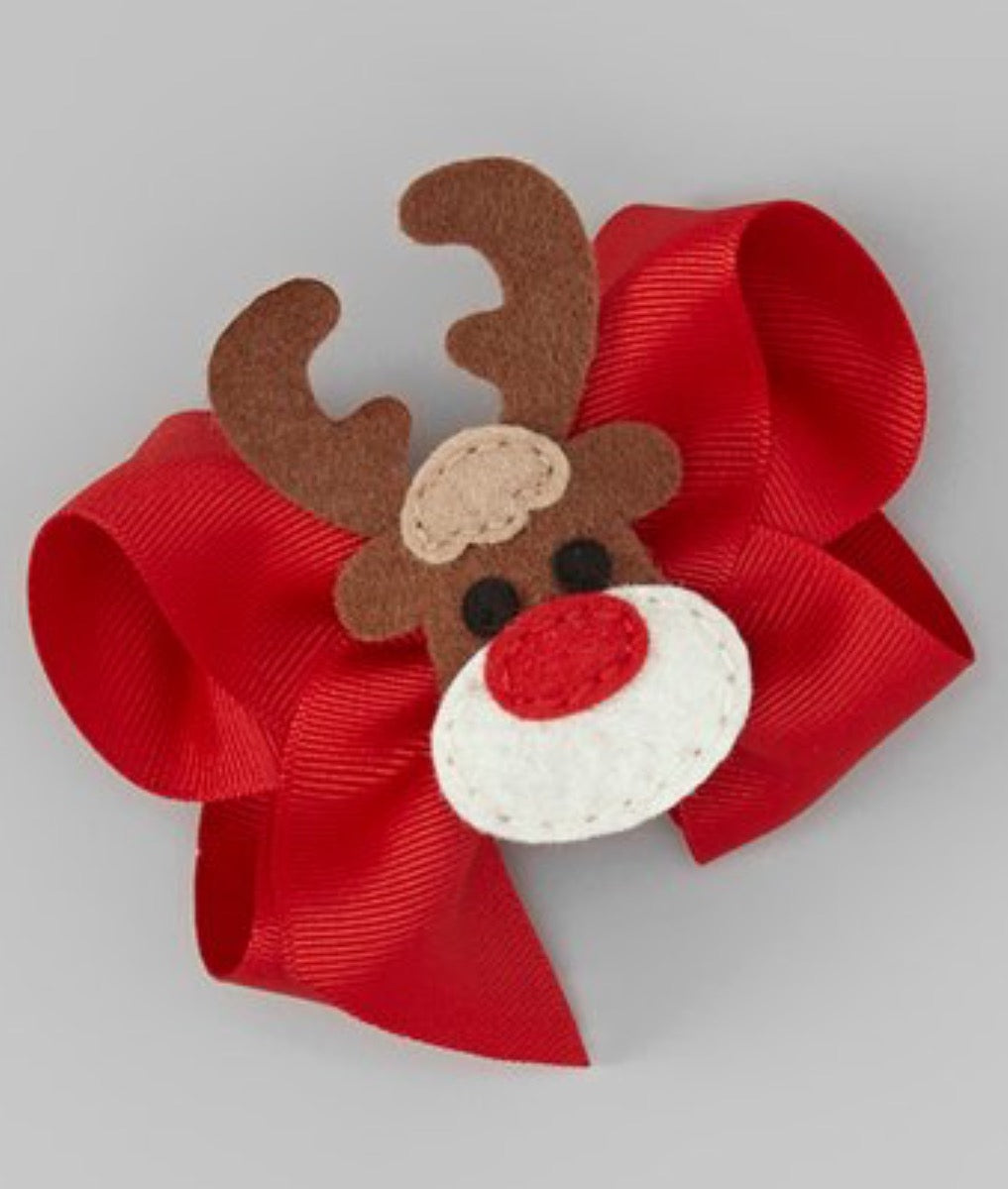 Hair Accessories - Beary Basics Red Reindeer  Appliqué Bow