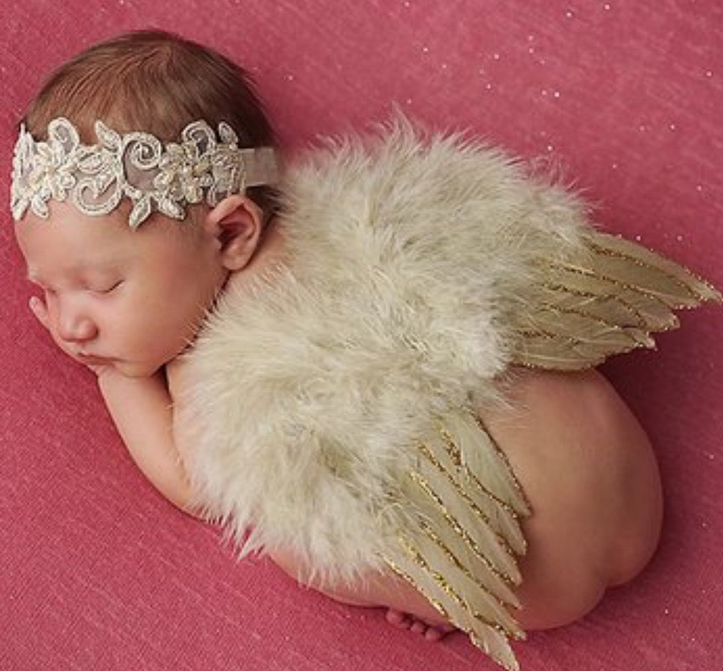 Infant - Tan Headband & Feather Wings