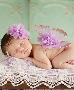 Lavender Rosette Headband & Butterfly Set -  One Size