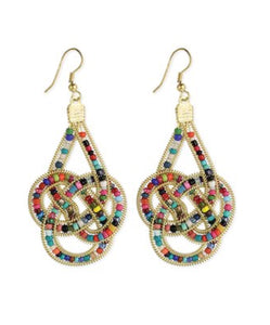 Goldtone Beaded Knot Earrings