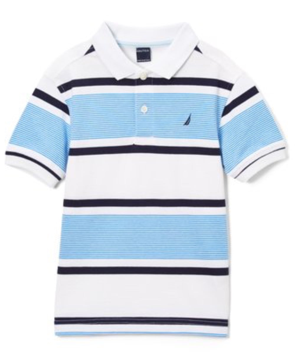 US Polo Short Sleeve White & Blue Polo Shirt