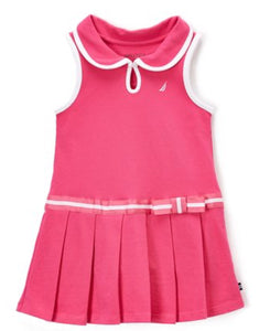 Nautica Medium Pink Pleated Drop Waist Dress - Toddler Girls